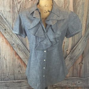 Lauren jeans co ruffle front chambray button down